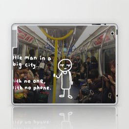little man in a big city: with no one, with no phone. Laptop & iPad Skin