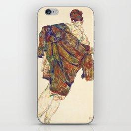 Woman in multicolourd coat by Egon Schielle iPhone Skin