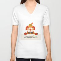 clown V-neck T-shirts featuring Clown by Design4u Studio