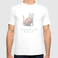 lightning bolt cats are better MEDIUM White Mens Fitted Tee