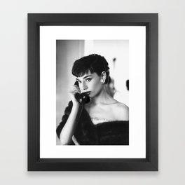 Audrey calling phone Framed Art Print