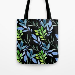 Blue and Green Leaves Tote Bag