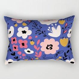 Flowers on blue Rectangular Pillow