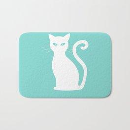 Large Cute White Cat on Tiffany Aqua Blue Bath Mat