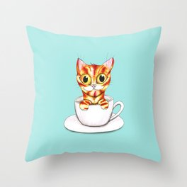 Striped coffee cat Throw Pillow