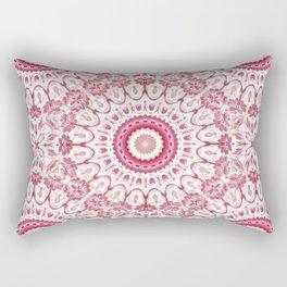 Pink White Floral Mandala Rectangular Pillow