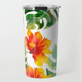 Monstera And Hibiscus Travel Mug