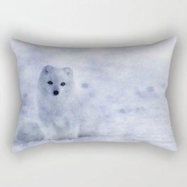 Watercolor Arctic Fox Rectangular Pillow