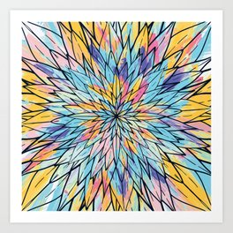Summery Yellow Pink Floral Painted Line Art Art Print
