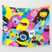 monsters Wall Tapestries featuring Monsters by Lienke Raben