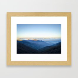 Clouds over mountains  Framed Art Print