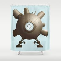 spaceship Shower Curtains featuring Steampunk Spaceship by FOUR SECOND MEMORY