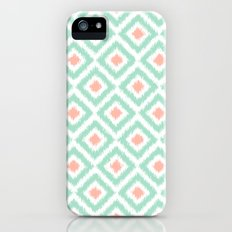 Mint and Coral Diamonds Ikat Pattern iPhone (5, 5s) Slim Case