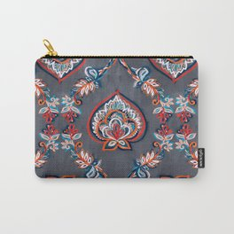 Floral Ogees in Red & Blue on Grey Carry-All Pouch