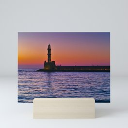 Sunset at the port of Chania, in Crete island Greece. Mini Art Print