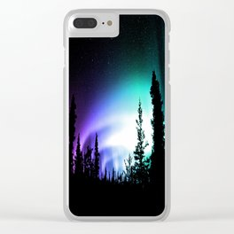 Aurora Borealis Forest Clear iPhone Case