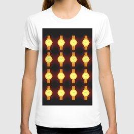 Luminous Wristwatches on Black Illustration T-shirt