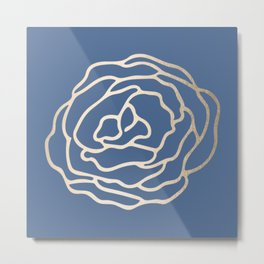 Flower in White Gold Sands on Aegean Blue Metal Print