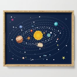 Cartoon solar system and planets around sun Serving Tray
