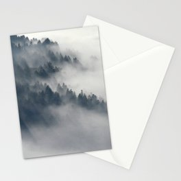 Fog in the forest Stationery Cards
