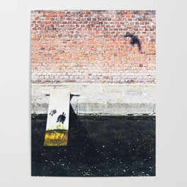 Funny turtles on a wooden plank on the Varenne canal in the center of Milan Poster