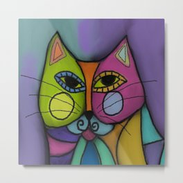 Calico Cat Colorful Abstract Digital Painting  Metal Print