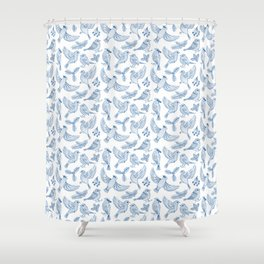 Winter Birds and Foliage Pattern (Blue) Shower Curtain