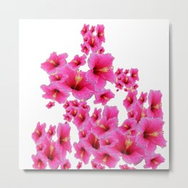 MODERN ART TROPICAL FUCHSIA HIBISCUS  FLOWERS Metal Print