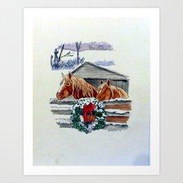 Christmas Ponies Art Print