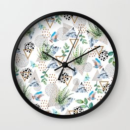 Geometric with cactus and butterflies Wall Clock