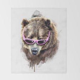 Cool shy bear Throw Blanket