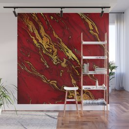 Chic Elegant Fire Red Ombre Glitter Marble Wall Mural