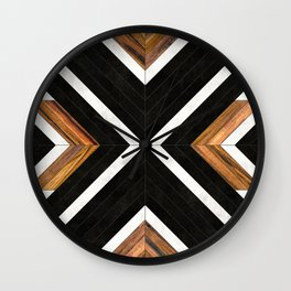 Urban Tribal Pattern 1 - Concrete and Wood Wall Clock