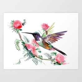 Flying Hummingbird and Red Flowers Art Print