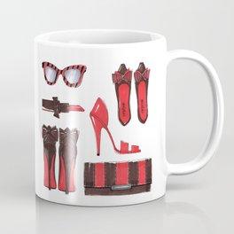 Fashion accessories, shoes, bag, glasses, lipstick. Coffee Mug