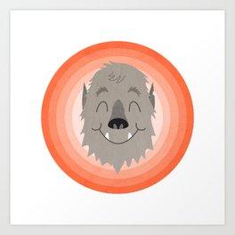 Wally the Happy Werewolf Art Print