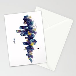 Detroit Skyline Silhouette Stationery Cards