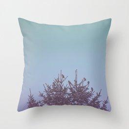 Birds on snowy tree Throw Pillow