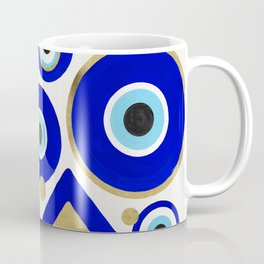 Evil Eye Charms on White Coffee Mug
