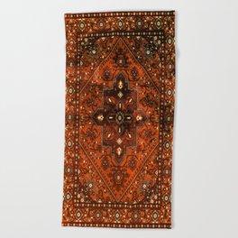 N151 - Orange Oriental Vintage Traditional Moroccan Style Artwork Beach Towel