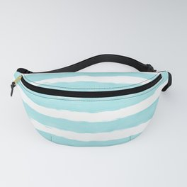 Aqua Blue- White- Stripe - Stripes - Marine - Maritime - Navy - Sea - Beach - Summer - Sailor 2 Fanny Pack