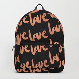 Love Rose Gold Pink on Black Backpack