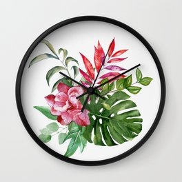 Flower and Leaves 1 Wall Clock