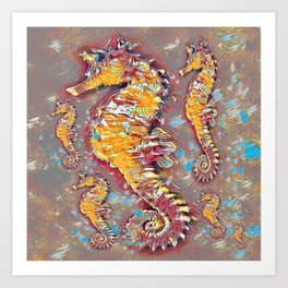 PUTTY GREY & GOLD SEA HORSES BEACH ART Art Print