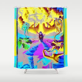 Trippy Psychedelic Surreal Visionary Art by VIncent Monaco - The Battlesoul Shower Curtain