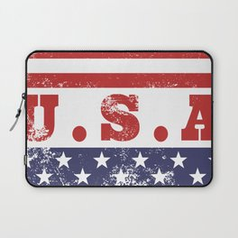 USA Patriotic Rubber Stamp Icon Laptop Sleeve