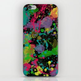Paint Splatter on Black Background iPhone Skin