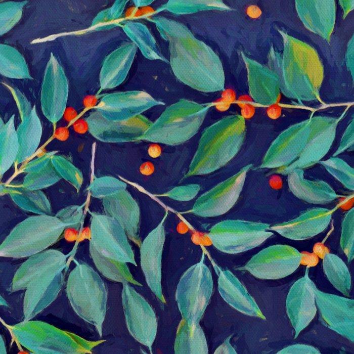 Leaves + Berries in Navy Blue, Teal & Tangerine Leggings