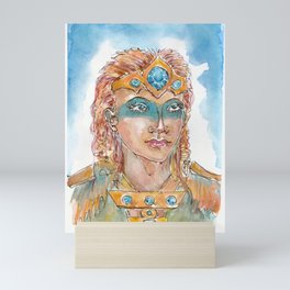 Fan art Skyrim. Girl in the crow with golden hair. Mini Art Print