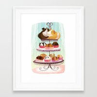 blankets Framed Art Prints featuring Petit Pigs sans Blankets by Steph Laberis